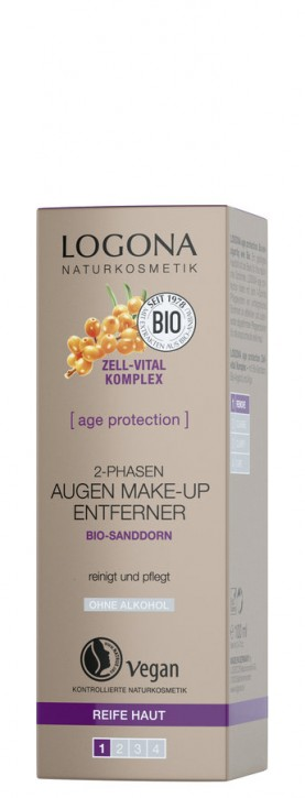 LOGONA Naturkosmetik, Age Protection 2-Phasen Augen Make up Entferner - 100 ml