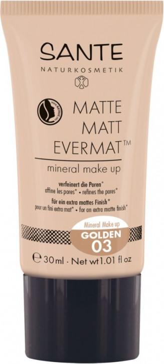 SANTE Naturkosmetik, Matte Matt EvermatTM flüssige Foundation 03 golden - 30 ml