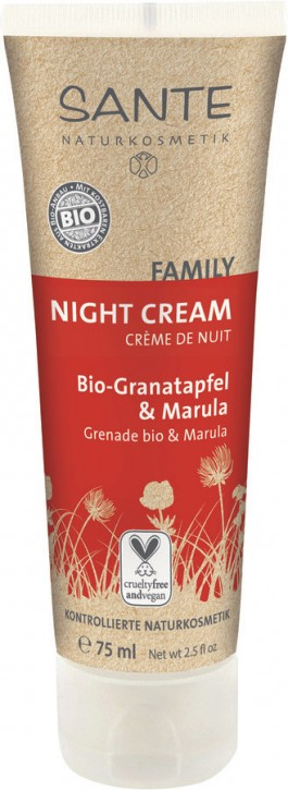 SANTE Naturkosmetik, Family Night-Cream Bio-Granatapfel & Marula - 75 ml